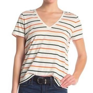 Madewell Multicolor Striped V-Neck Tee